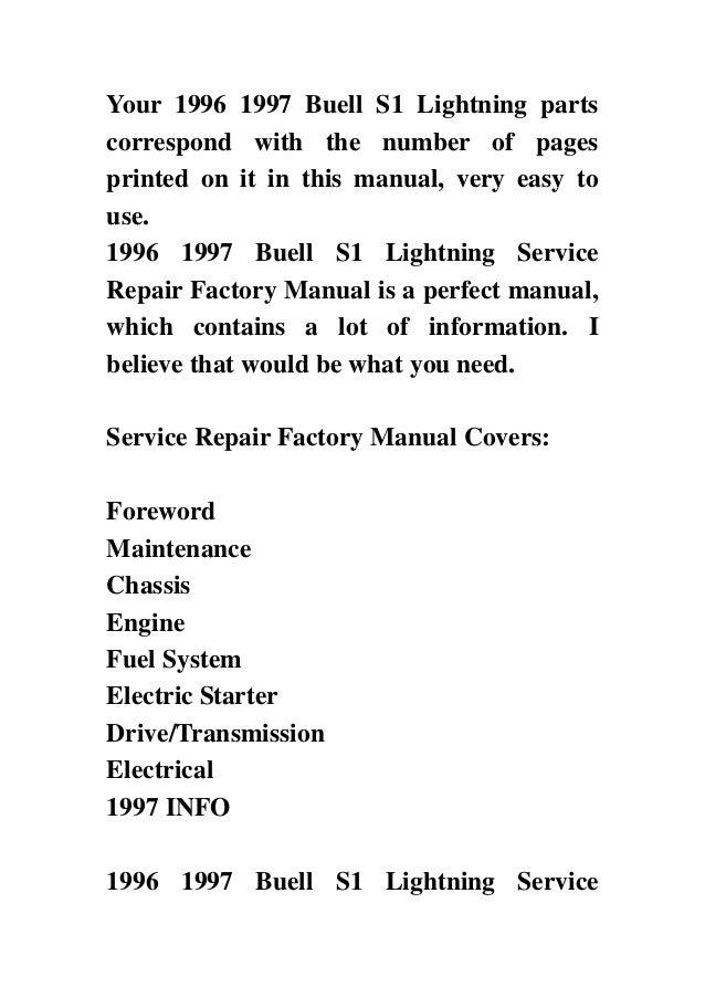 1996 1997 Buell S1 Lightning Service Repair Factory Manual