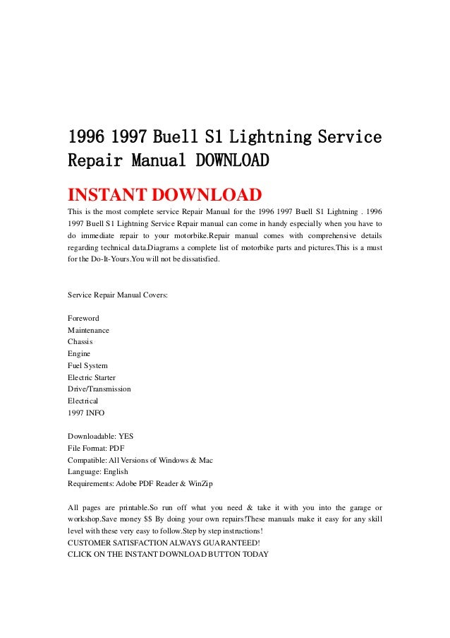 1996 1997 Buell S1 Lightning Service Repair Manual Download