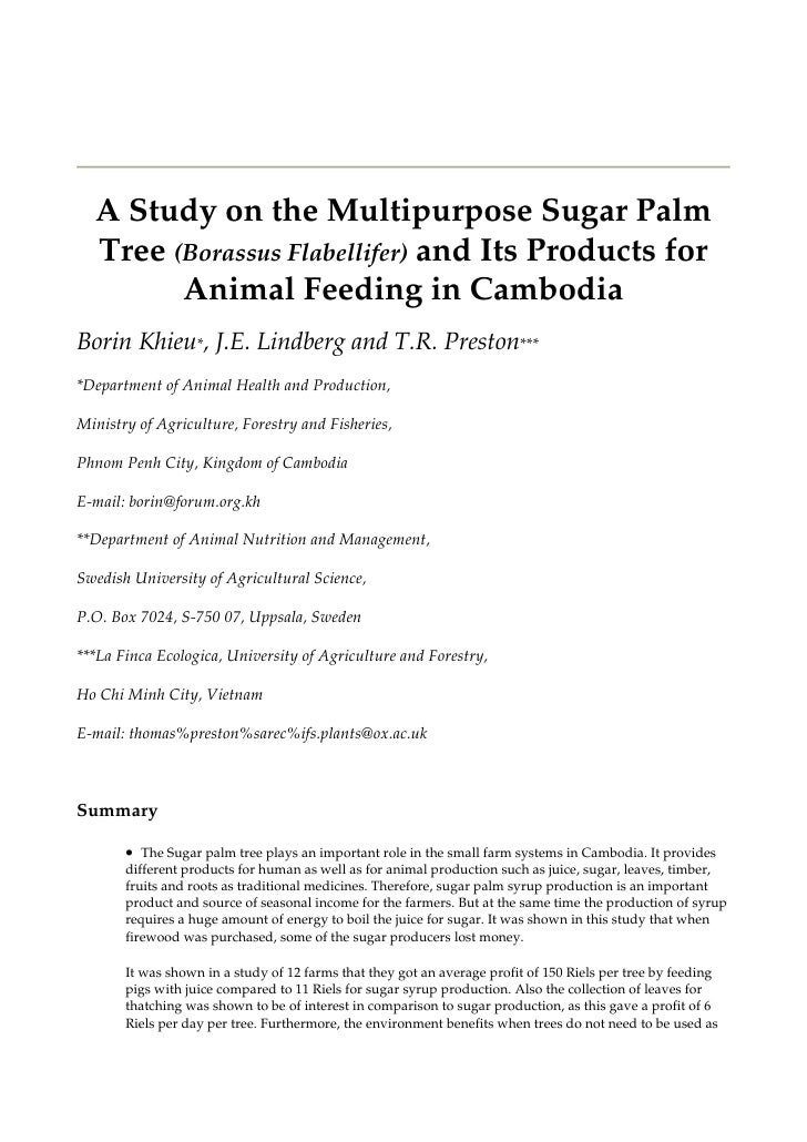Integrated Farming in Human Develeopment - Proceedings of a Workshop       A Study on the Multipurpose Sugar Palm   Tree (...