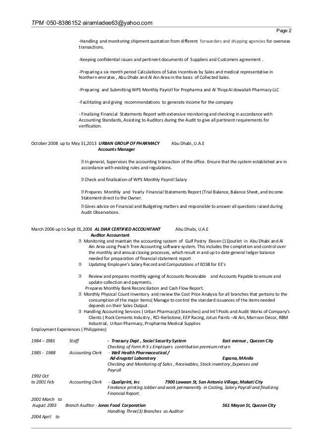 Stunning Abu Dhabi Accounting Resume Gallery - Best Resume Examples ...