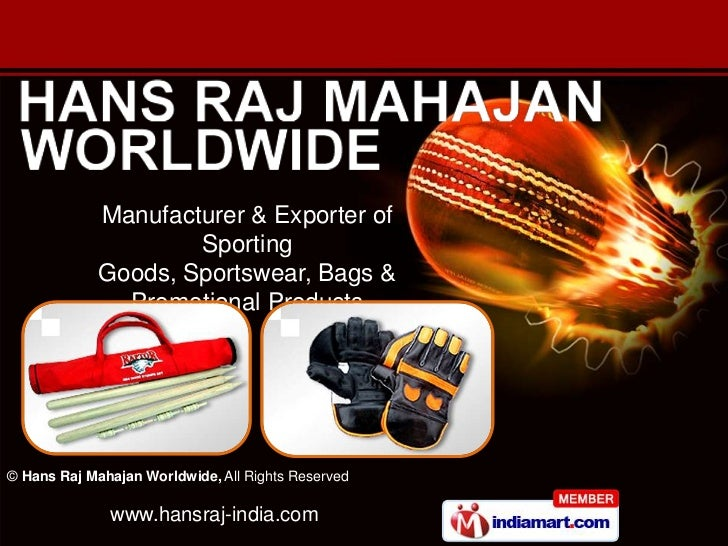 Manufacturer & Exporter of                     Sporting             Goods, Sportswear, Bags &               Promotional Pr...
