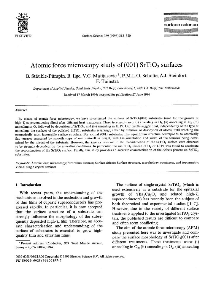 s u r f a c e science  ELSEVIER                                                     Surface Science 369 (1996) 313-320    ...