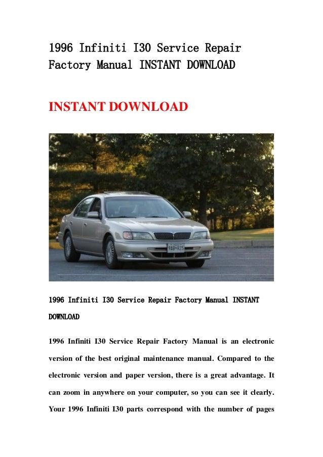1996 infiniti i30 service repair factory manual instant download rh slideshare net 2003 Infiniti G20 1999 Infiniti G20