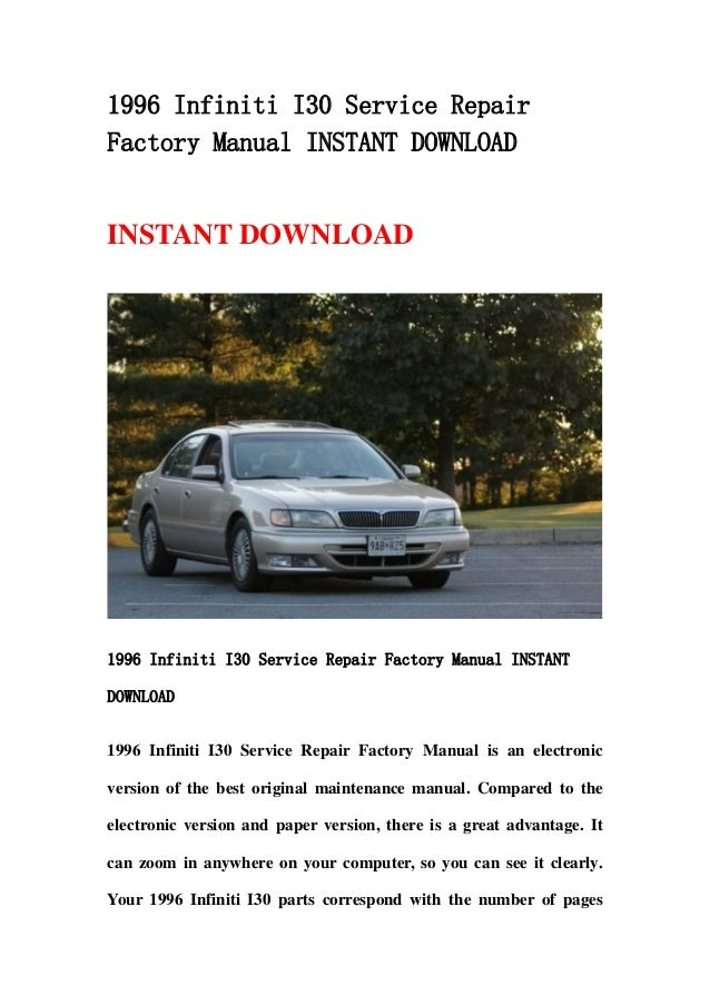 Infiniti i30 service repair manual 1997-1999 download.