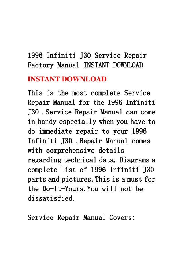 1996 infiniti j30 service repair factory manual instant download rh slideshare net 2006 Infiniti J30 1996 infiniti i30 repair manual