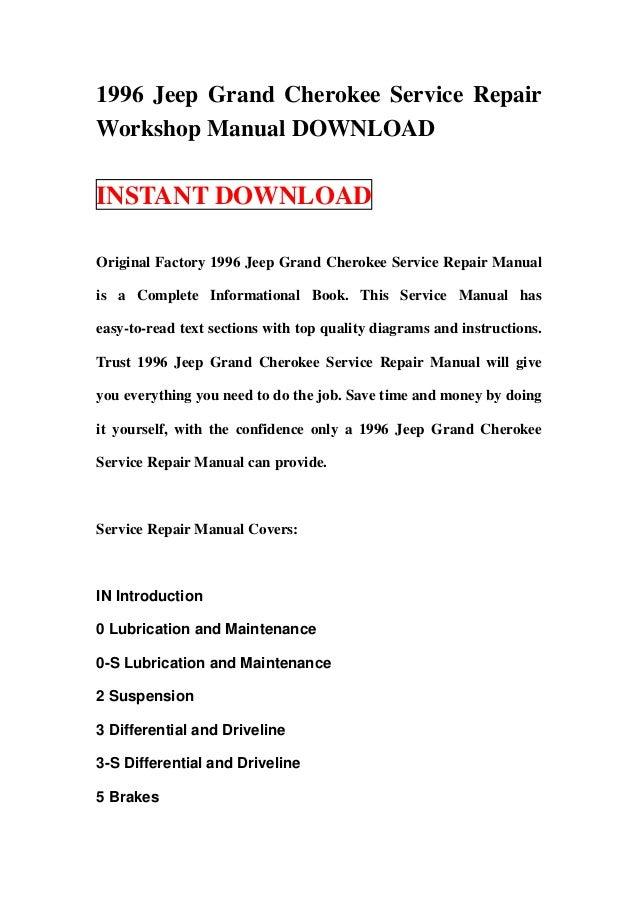 1996 Jeep Grand Cherokee Service Repair Workshop Manual