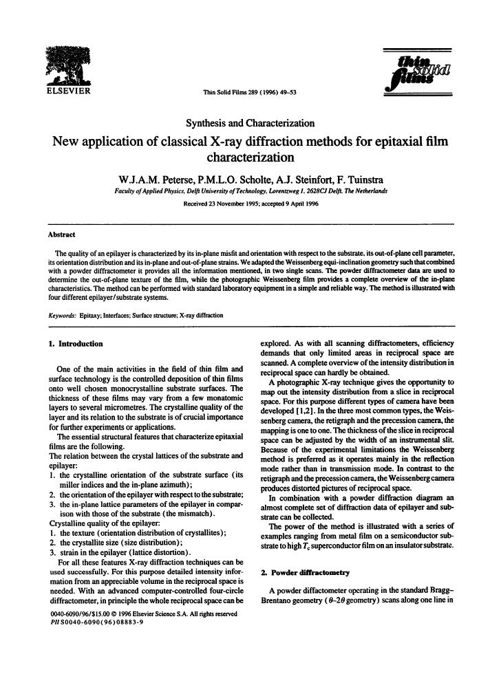 ELSEVIER                                                Thin SolidFilms289 (1996) 49-53                                   ...