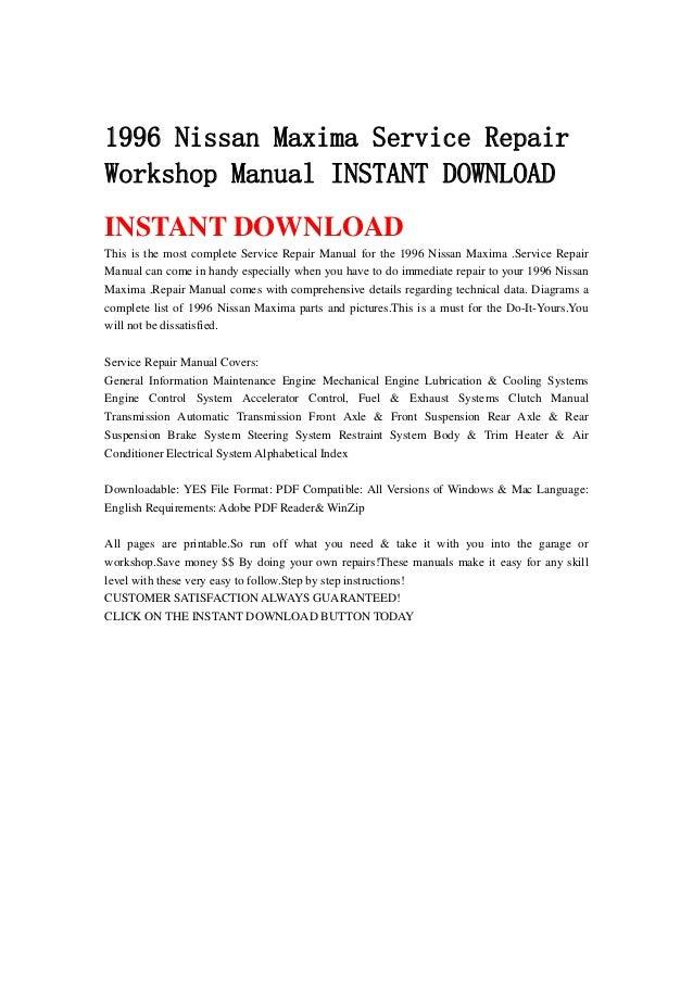 1996 nissan maxima service repair workshop manual instant download rh slideshare net 1996 nissan sentra service manual 1996 nissan maxima service manual pdf
