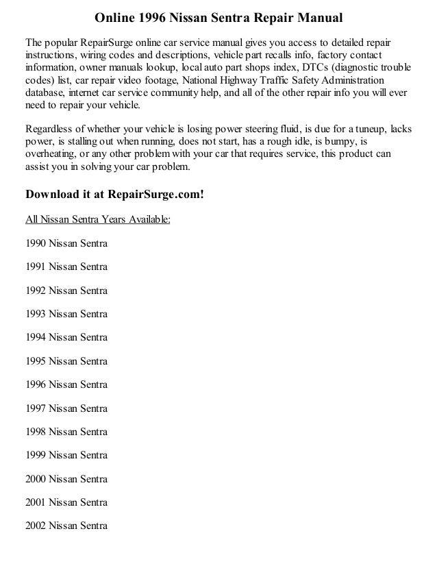 1996 nissan sentra repair manual online rh slideshare net nissan sentra 1996 repair manual free download 1996 nissan sentra service manual