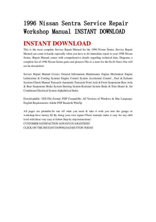 1996 nissan sentra service repair workshop manual instant download rh slideshare net 1998 Nissan Sentra Manual 1996 nissan sentra gxe repair manual