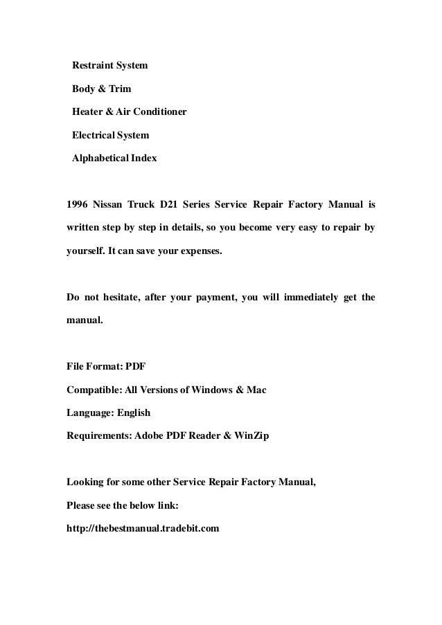 1996 nissan truck d21 series service repair factory manual