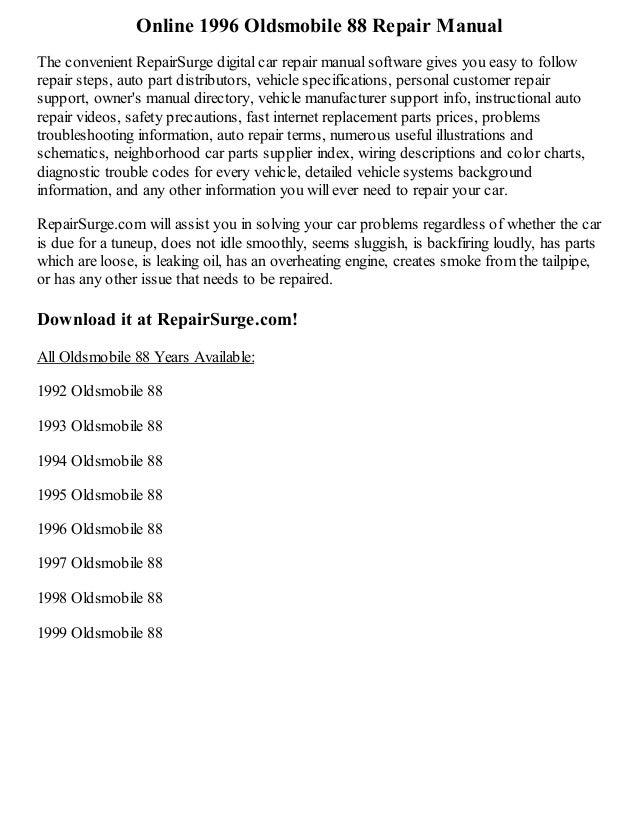 1996 oldsmobile 88 repair manual online rh slideshare net 1996 Oldsmobile Delta 88 1996 Oldsmobile 98