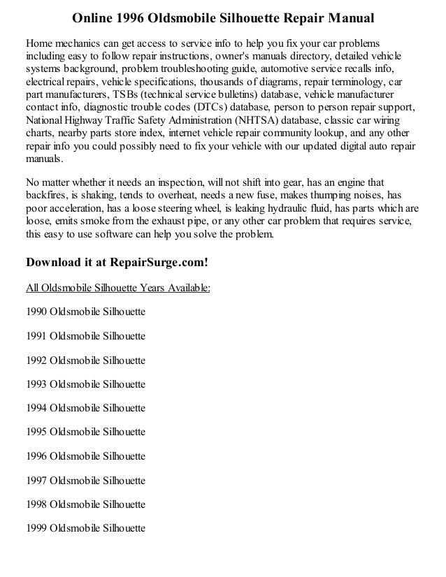 1996 oldsmobile silhouette repair manual online rh slideshare net 1999 oldsmobile aurora repair manual 1999 oldsmobile bravada repair manual