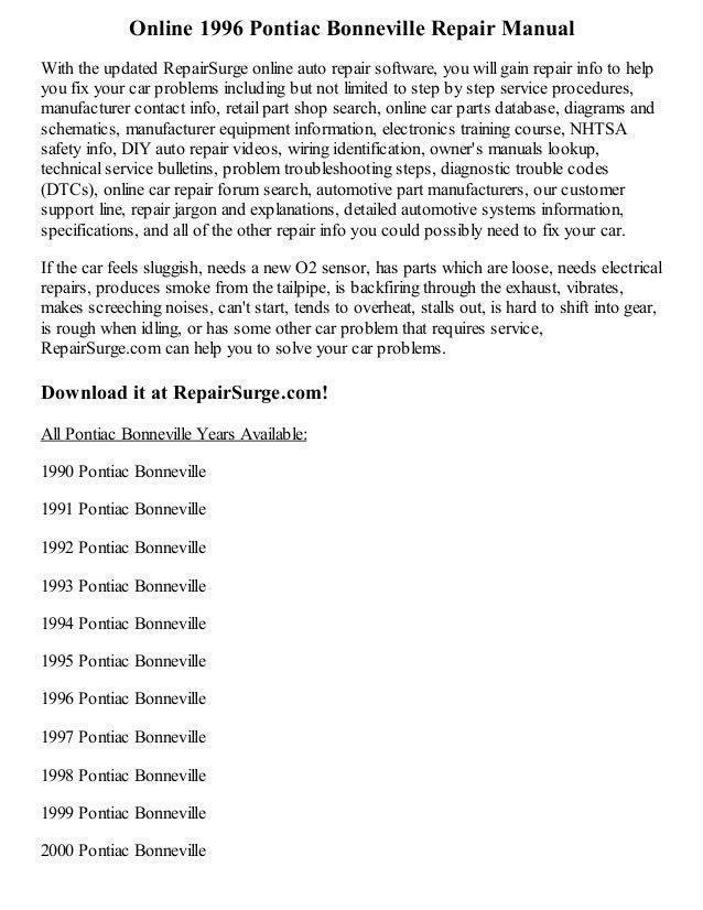 1996 pontiac bonneville repair manual online rh slideshare net pontiac bonneville service manual pdf 2003 pontiac bonneville repair manual pdf