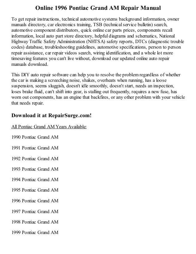 1997 Pontiac Grand Am Owners Manual Pdf