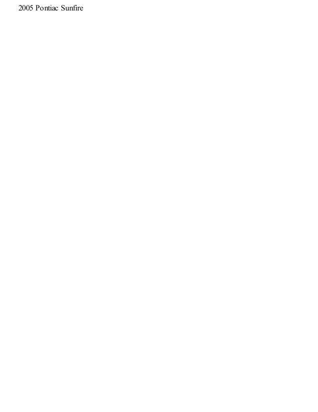 PONTIAC SUNFIRE OWNER S MANUAL Pdf Download