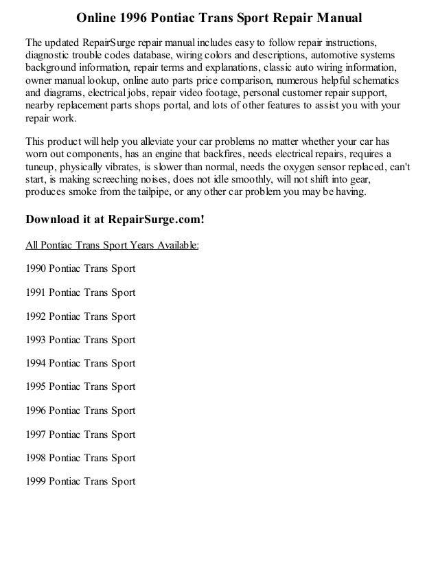 pontiac trans sport wiring diagram 1996 pontiac trans sport repair manual online  1996 pontiac trans sport repair manual