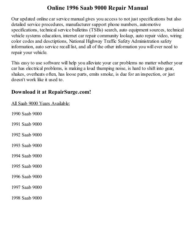 1996 saab 9000 repair manual online rh slideshare net saab 9000 service manual download saab 9000 service manual