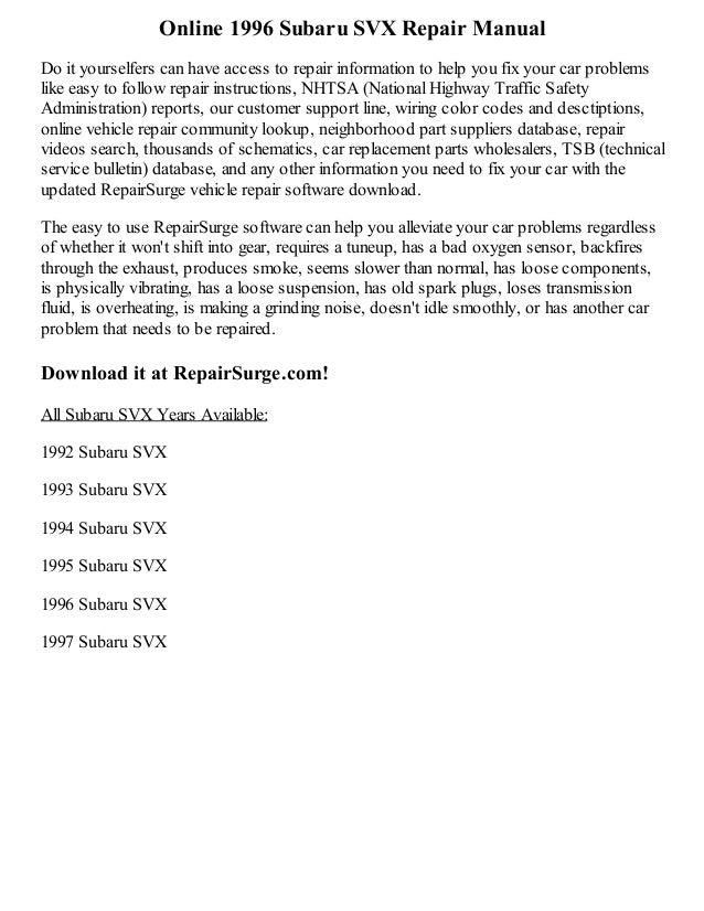 1992 subaru svx repair manual