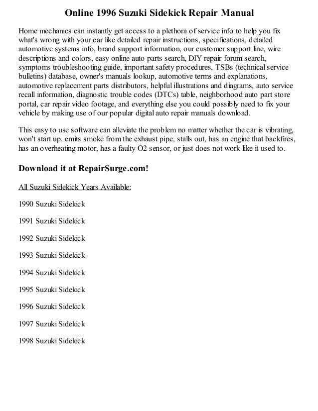 Suzuki Sidekick Repair Manual Service Manual Online