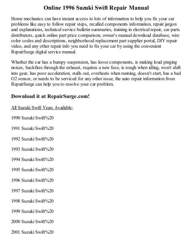 1996 suzuki swift repair manual online rh slideshare net 1993 Suzuki Swift Parts 1989 Suzuki Swift
