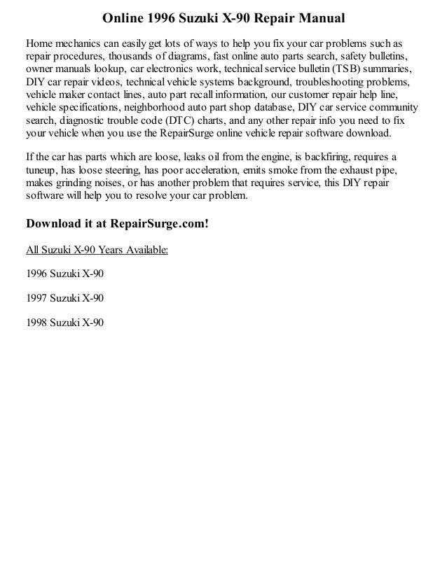 1996 Suzuki X-90 Repair Manual Online