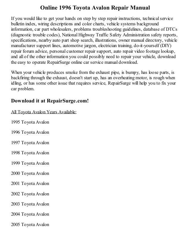 1996 toyota avalon repair manual online rh slideshare net 2000 Toyota Avalon 1998 toyota avalon manual pdf