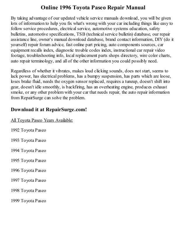1996 toyota paseo repair manual online rh slideshare net 1992 Toyota Paseo Parts 1992 Toyota Paseo Engine Diagram