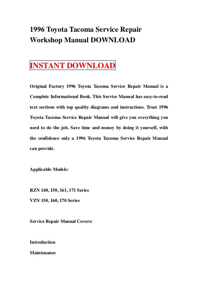 1996 toyota tacoma service repair workshop manual download rh slideshare net 96 toyota tacoma owners manual Toyota Tacoma Repair