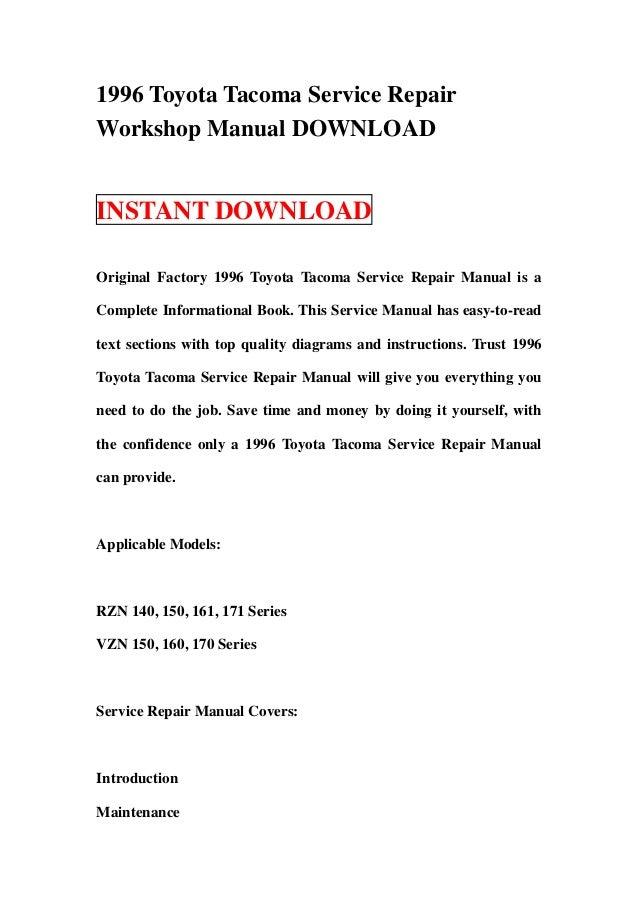 1996 toyota tacoma service repair workshop manual download rh slideshare net Toyota Tacoma Repair Manual 1996 toyota tacoma repair manual pdf