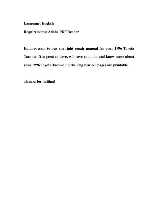 1996 toyota tacoma service repair workshop manual download rh slideshare net 1996 Toyota Tacoma Aftermarket Parts 1996 toyota tacoma repair manual pdf