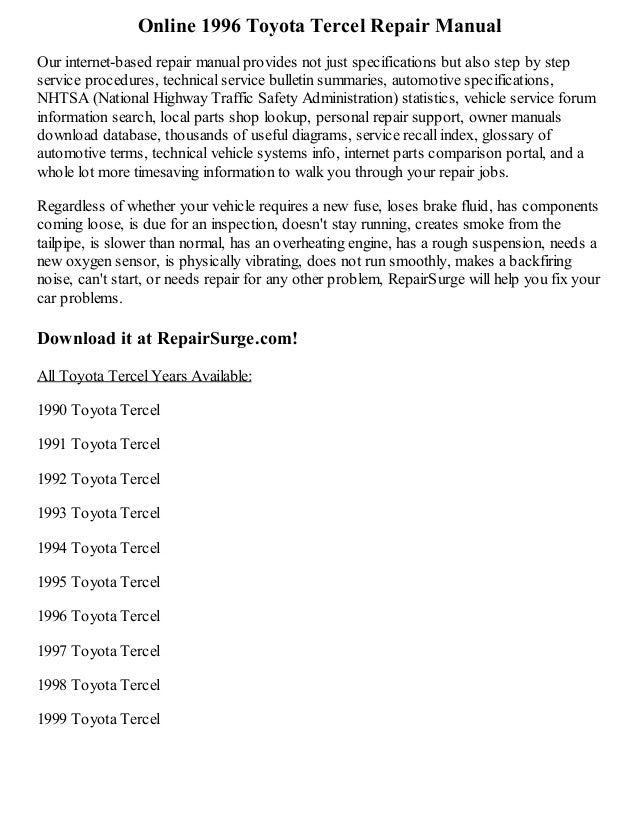 1996 toyota tercel repair manual online rh slideshare net 1998 toyota tercel repair manual pdf 1998 toyota tercel owners manual
