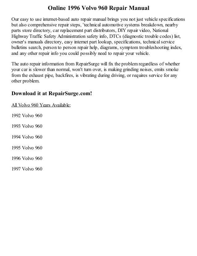 1996 volvo 960 repair manual online rh slideshare net Volvo 960 Engine Diagram 1996 Volvo 960 Vacuum Diagram