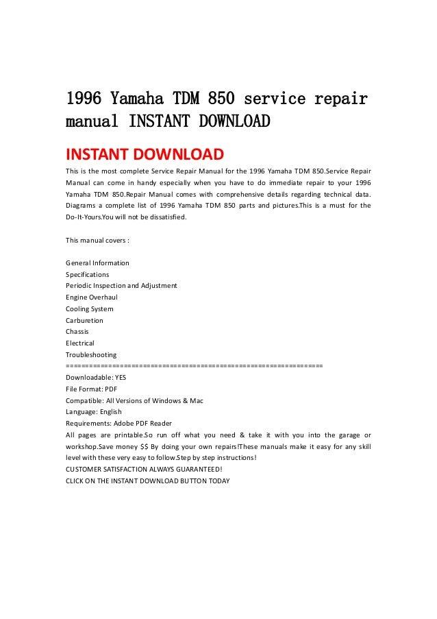 1996 yamaha tdm 850 service repair manual instant download rh slideshare net yamaha tdm 850 service manual free download yamaha tdm 850 service manual free download