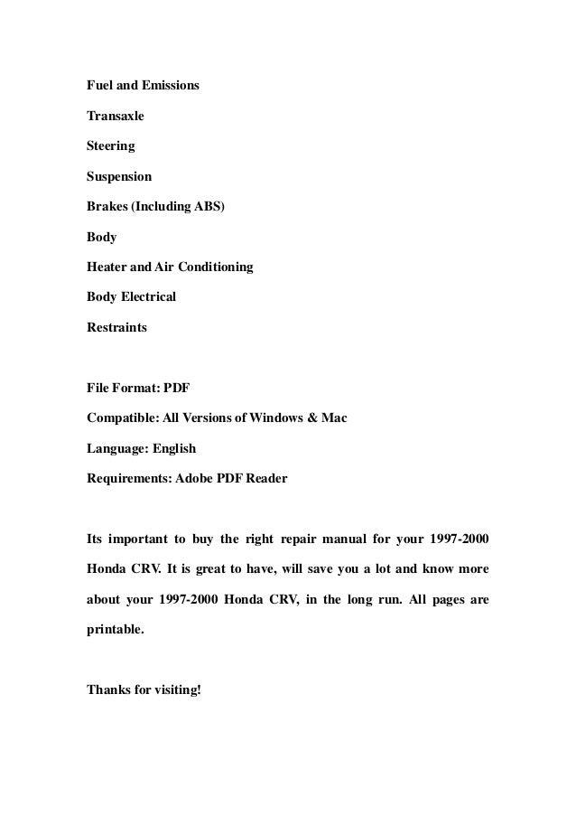 1997 2000 honda crv service repair workshop manual for 1997 honda crv window motor replacement