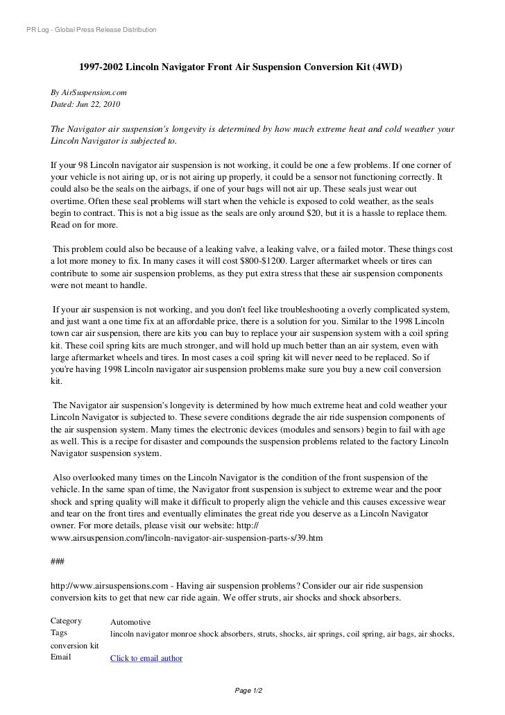 PR Log - Global Press Release Distribution                1997-2002 Lincoln Navigator Front Air Suspension Conversion Kit ...