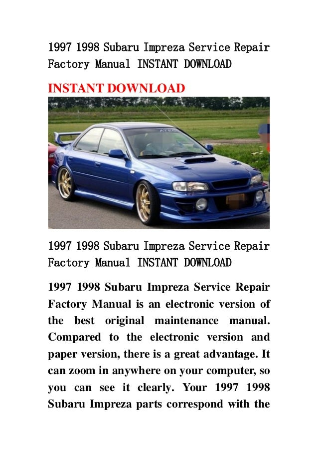 1997 subaru impreza service manual free owners manual u2022 rh wordworksbysea com Subaru Legacy Subaru Ascent