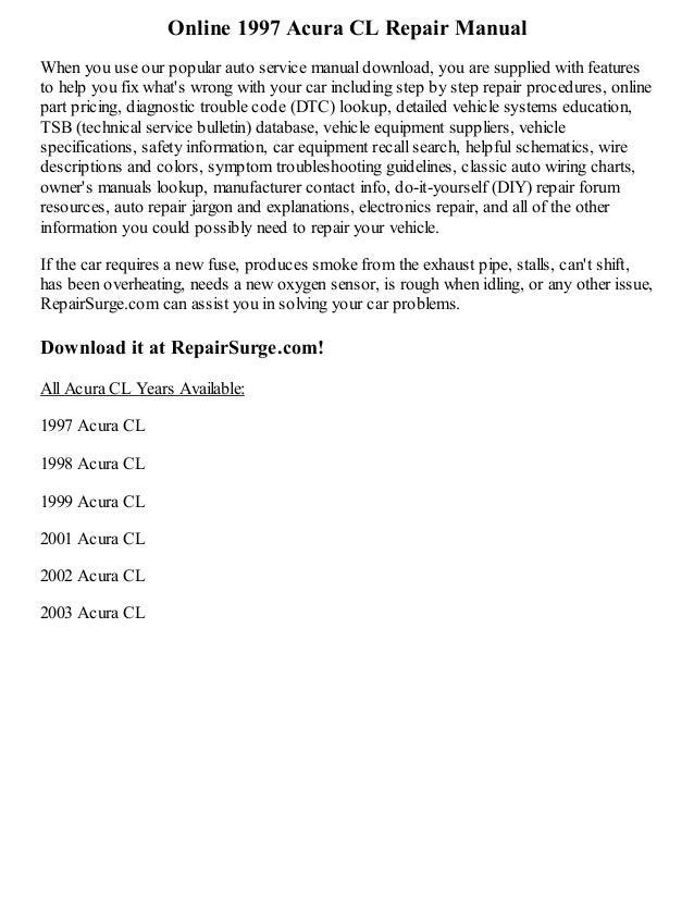 1997 acura cl repair manual online rh slideshare net 1996 Acura CL 1996 Acura CL
