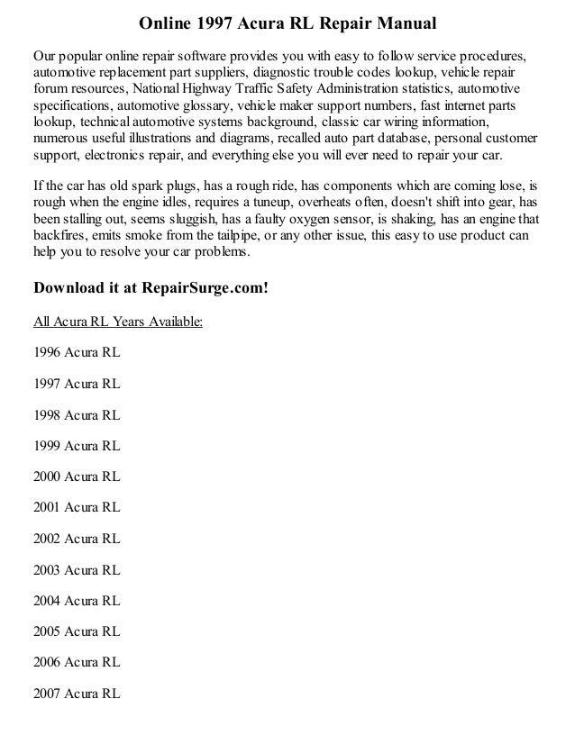 1997 acura rl repair manual online rh slideshare net 2008 Acura RL Owner's Manual 2010 Acura RL Owner's Manual