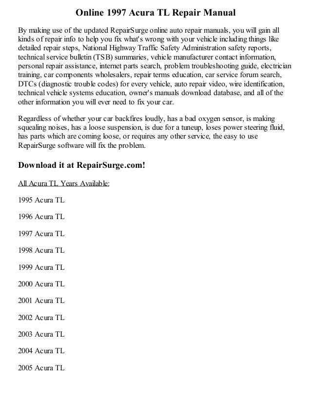 1997 Acura Tl Repair Manual Online