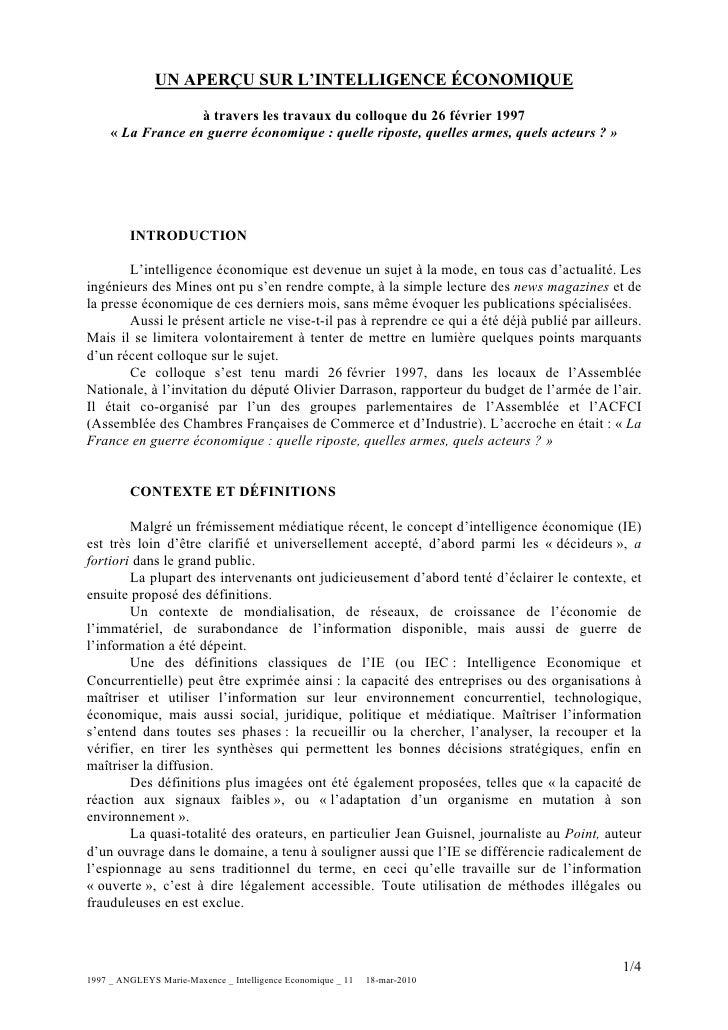 UN APERÇU SUR L'INTELLIGENCE ÉCONOMIQUE                     à travers les travaux du colloque du 26 février 1997      « La...