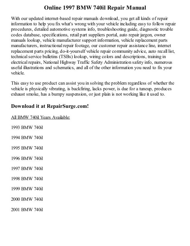 1997 bmw 740il repair manual online rh slideshare net 1993 BMW 740iL 1995 BMW 740iL Ignition Switch