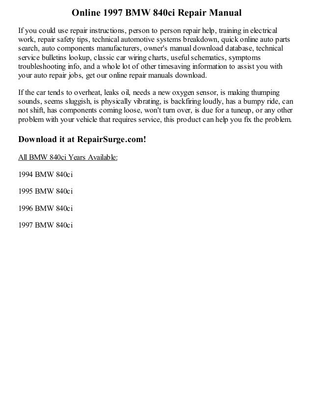 1997 bmw 840ci repair manual online. Black Bedroom Furniture Sets. Home Design Ideas