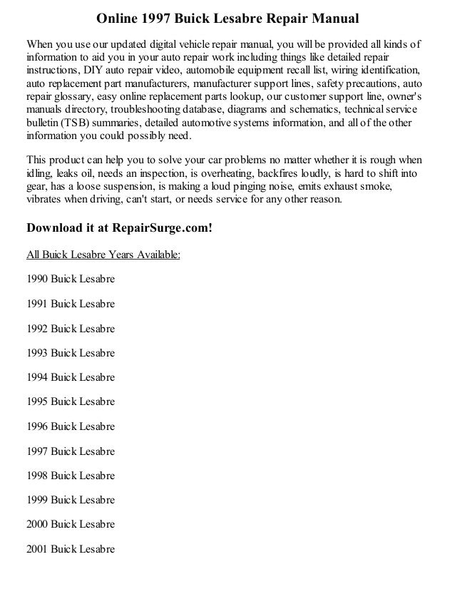 1997 Buick Lesabre Repair Manual Online. Online 1997 Buick Lesabre Repair Manual When You Use Our Updated Digital Vehicle. Buick. Oil Filter 1998 Buick Lesabre Parts Diagrams At Scoala.co