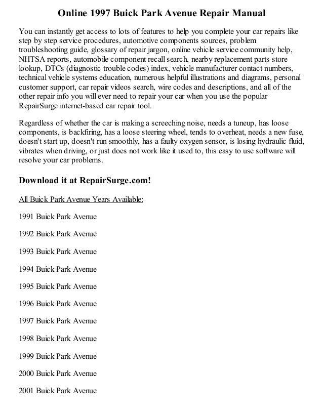 1997 buick park avenue repair manual online rh slideshare net 1991 buick park avenue service manual 1992 buick park avenue owners manual pdf