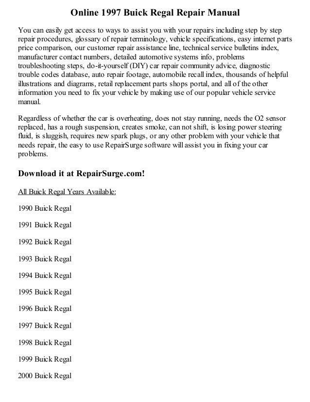 1997 buick regal repair manual online rh slideshare net 1998 buick regal repair manual free 1996 Buick Regal