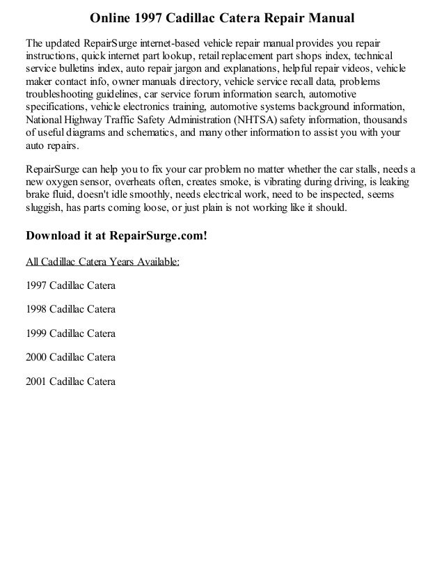 1997 cadillac catera repair manual online rh slideshare net 1998 Cadillac Catera 2000 Cadillac Catera Door Panel Removal