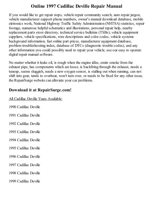 1997 Cadillac Deville Repair Manual Online