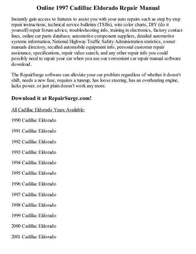 1997 cadillac eldorado repair manual online rh slideshare net 97 Cadillac Eldorado Spec 97 Cadillac Eldorado Spec