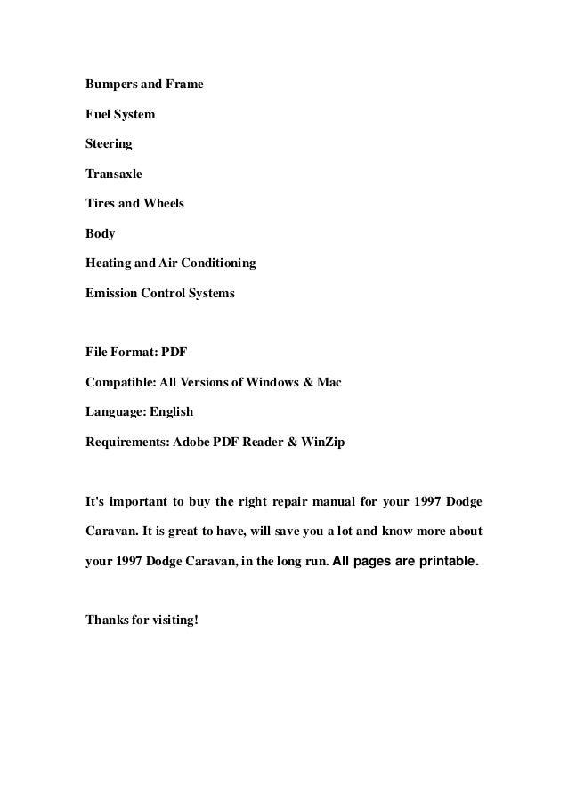dodge caravan 1997 service repair manual